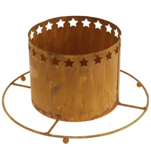 Lanterne avec étoiles, Avent, porte-couronne en métal, décoration de Noël en acier inoxydable Ø25cm