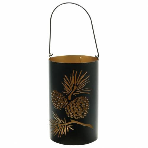 Lanterne décorative ronde avec poignée forêt métal noir, or Ø16cm H26cm