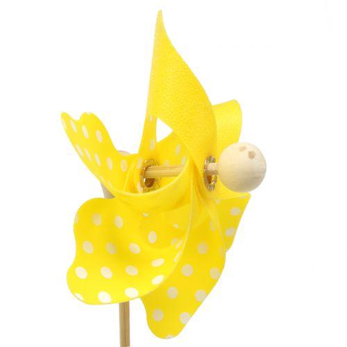 Mini moulin à vent jaune à pois blancs Ø8 cm 12pcs