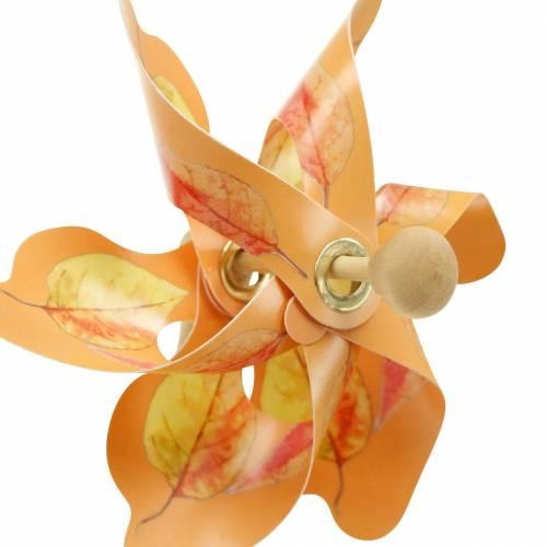 Moulins à vent décoratifs motif feuille d'automne orange / blanc / vert L27.5 Ø22cm 12pcs