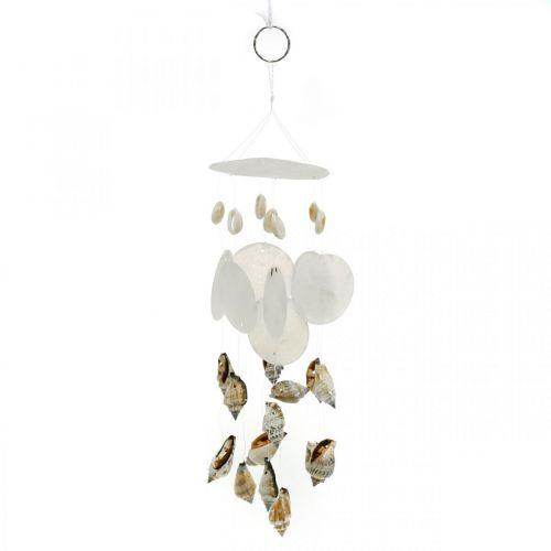 Carillon à vent avec coquilles capiz, décoration maritime, cintre déco coquilles d'escargot L35 Ø8cm