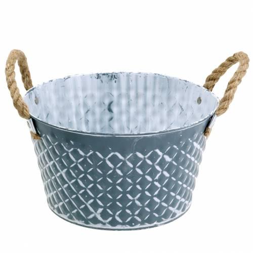 Bol en zinc diamant avec anses en corde bleu-gris Ø25cm H14cm