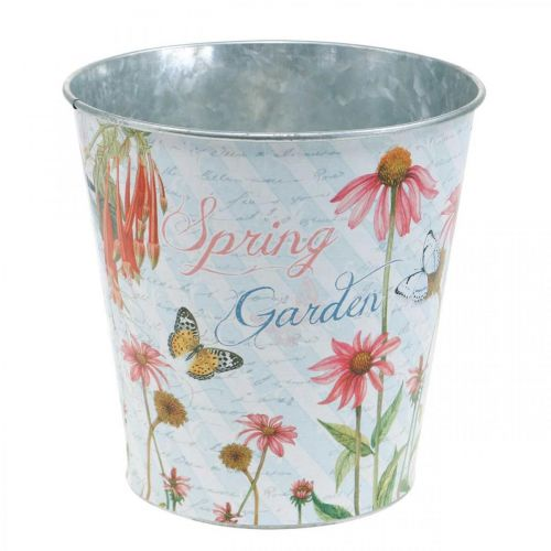 Pot de fleur fleurs en métal jardinière décoration printemps Ø15cm H15.5cm