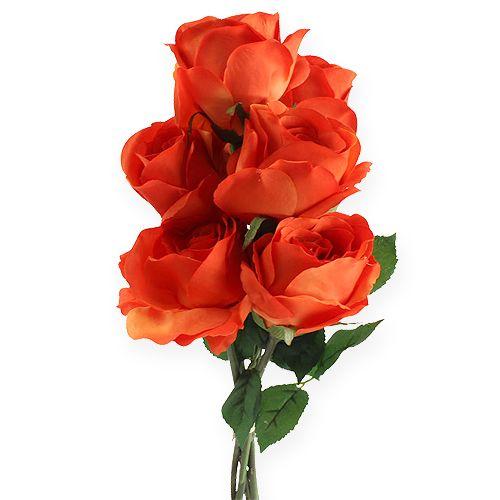 Roses décoratives oranges 32 cm 6 p.