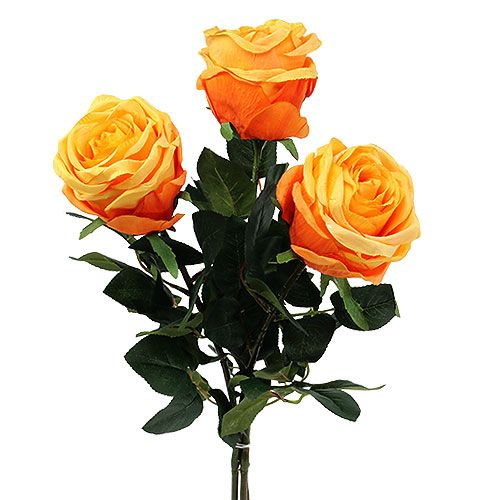 Rose décorative orange Ø 8 cm L68 cm 3 ex.
