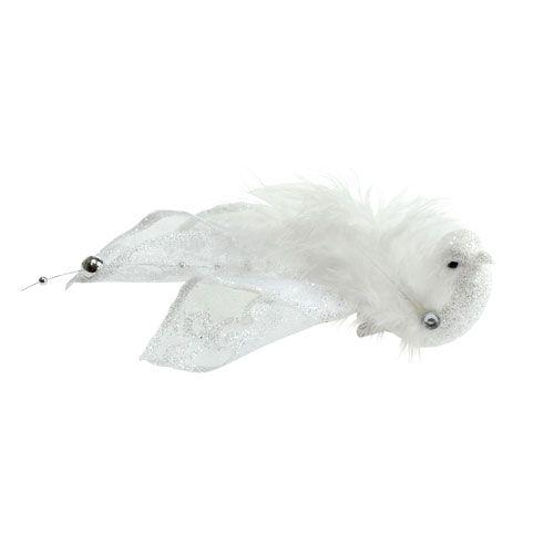 Oiseau de décoration sur pince avec paillettes, blanc 14 cm 2 p.