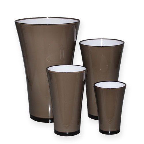 """Vase """"Fizzy"""" gris souris Ø13,5cm à Ø28,5cm environ, 1 pce"""