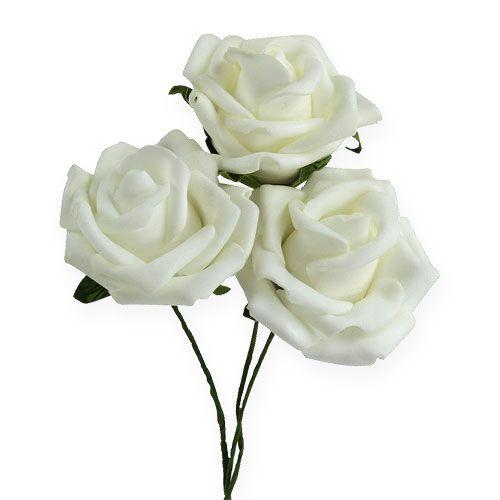 Rose en foam Ø 6  cm blanc 27 ex.