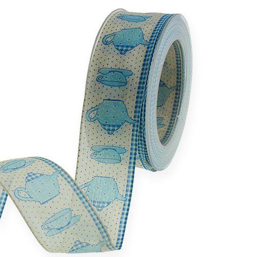 Ruban décoratif avec fil bleu 40mm 20m