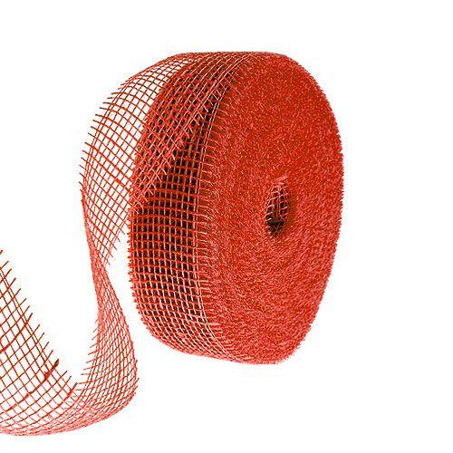 Ruban de jute rouge 5cm 40m