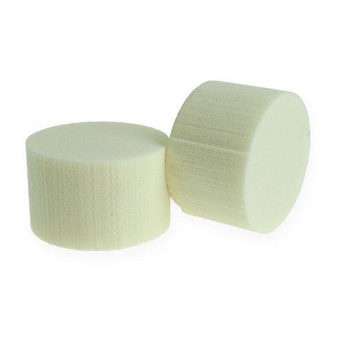 Cylindre de mousse florale, Ø8cm, couleur crème, 6 pièces