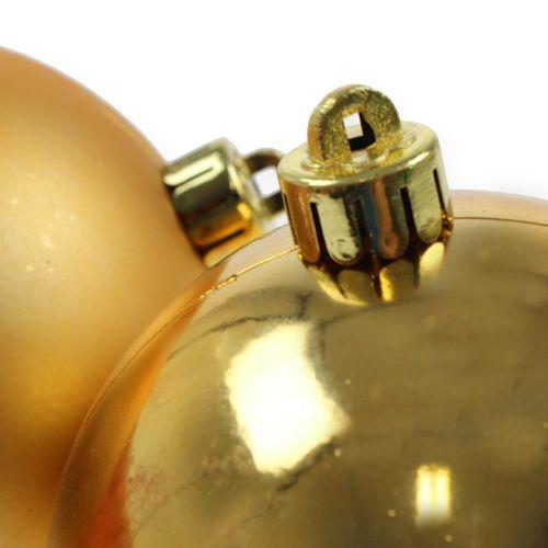 Boules de Noël en plastique or 8cm 6pcs