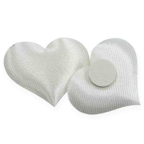 Mélange de cœurs de tissu en blanc 28x32mm 100P