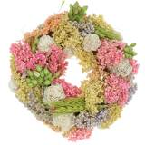 Couronne décorative d'herbe sèche et de fleurs artificielles colorées Ø20cm