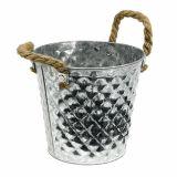 Seau avec poignées en corde  Ø 16 cm H. 15 cm