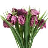 Damier fleurs Fritillaria violet artificiel 29cm 6pcs