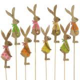 Lapin de décoration de Pâques avec bâton en bois assorti naturel 11cm 16p