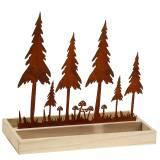 Tablette en bois avec silhouette de forêt en patine forêt 30 x 15 cm
