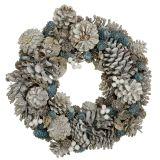 Couronne de broche avec paillettes blanc, bleu, nature Ø32cm