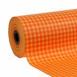 Papier de fleuriste 25 cm 100 m orange à carreaux