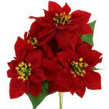 Poinsettia Bouquet Velours Rouge 35cm