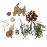Set artisanat floral sec Cônes de l'Avent et mousse lavés à la chaux 150g