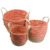 Panier en rotin naturel / orange Ø40 / 32 / 26cm 3pcs