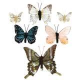 Papillon décoratif avec clip en métal nature assorti H4.9cm / 5.8cm / 7.4cm 6pcs