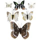 Papillon décoratif avec pince en métal argent naturel assorti H4.9cm / 5.8cm / 7.4cm 6pcs