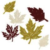 Déco à parsemer feuilles d'automne en feutrine bordeaux/crème/vert 72 p.