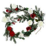 Guirlande de sapins avec des roses enneigées 180cm