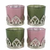 Lanterne verre métal décor lilas vert Ø5.5cm H5.5cm 4pcs