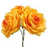 Roses en foam orange Ø 10 cm 8 ex.