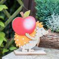 Figurine d'automne, hérisson avec pomme et champignon, décoration bois orange/rouge H24/23,5cm lot de 2