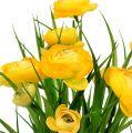 Bouquet de renoncules avec brins d'herbe 35 cm jaune