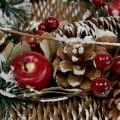 Guirlande de Noël avec fruits décoratifs enneigés Ø33cm
